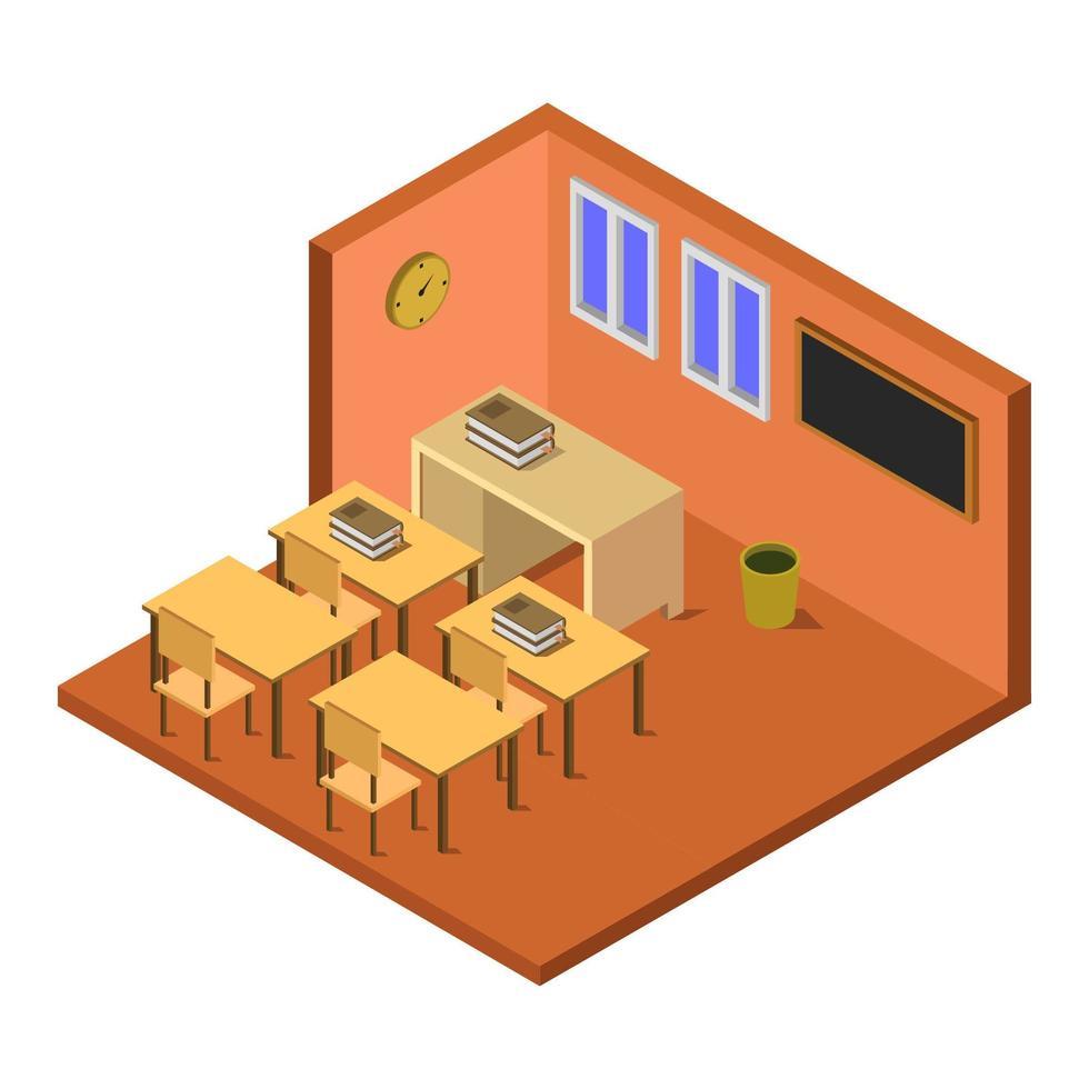 salle d & # 39; école isométrique sur fond blanc vecteur