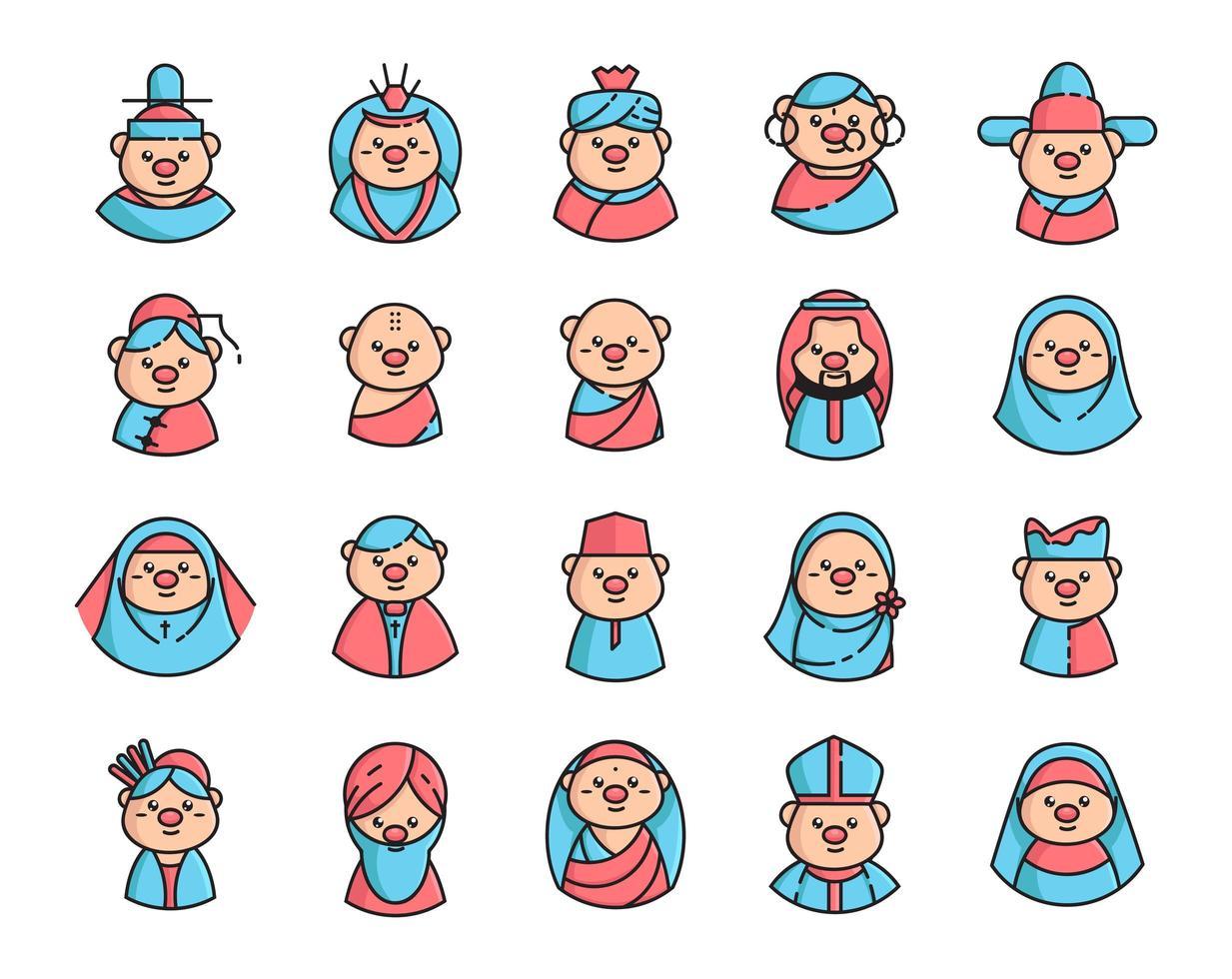 définir des icônes avatar pour la religion avec la couleur vecteur