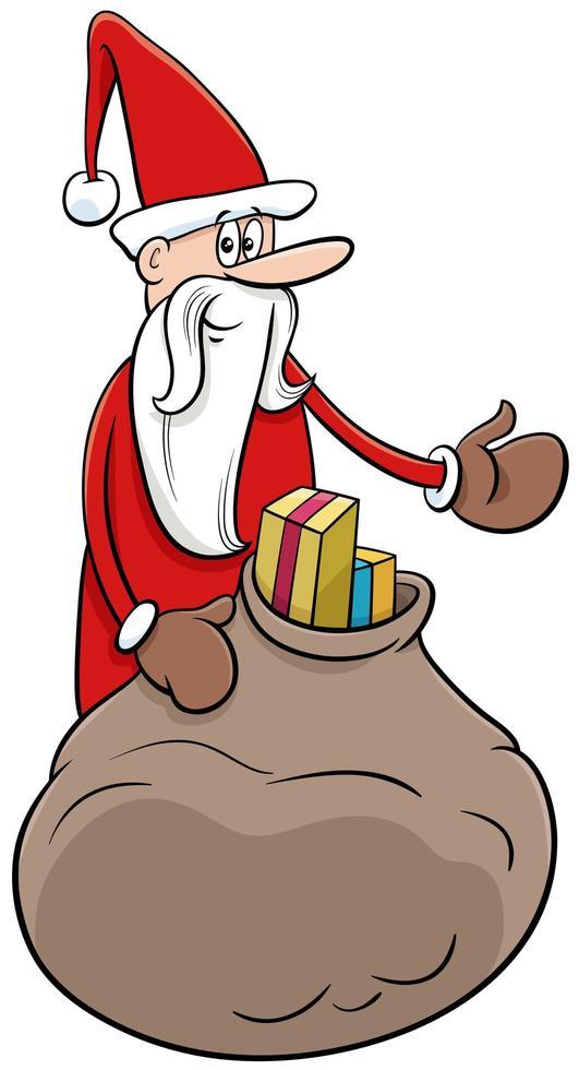 personnage de noël du père noël avec sac de cadeaux vecteur