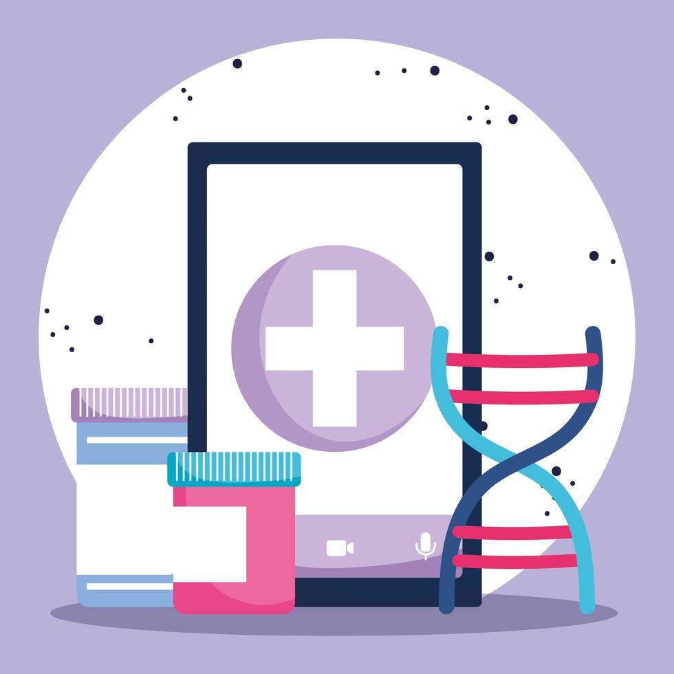 concept de soins de santé en ligne avec smartphone vecteur