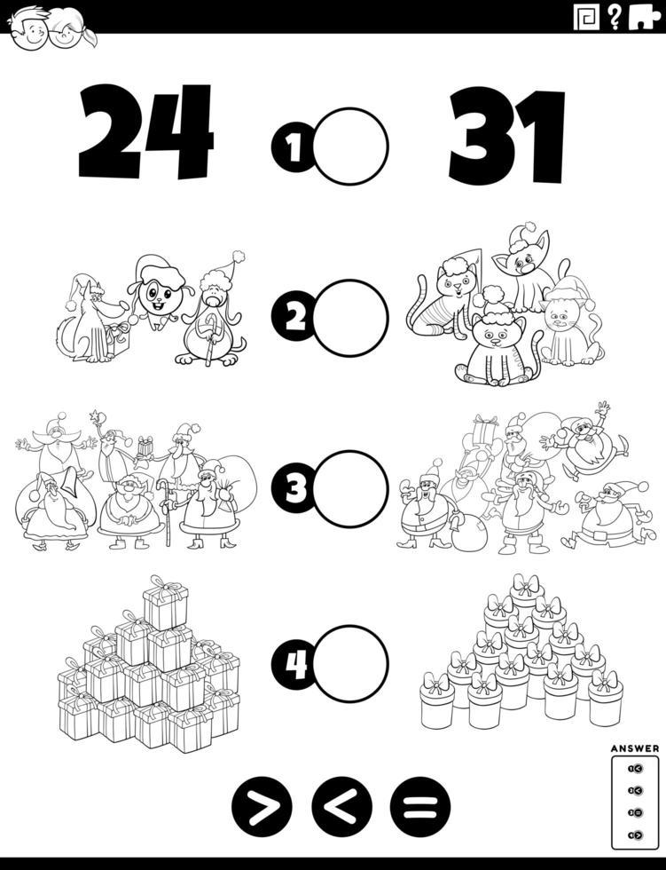 tâche supérieure, inférieure ou égale pour les enfants à colorier vecteur