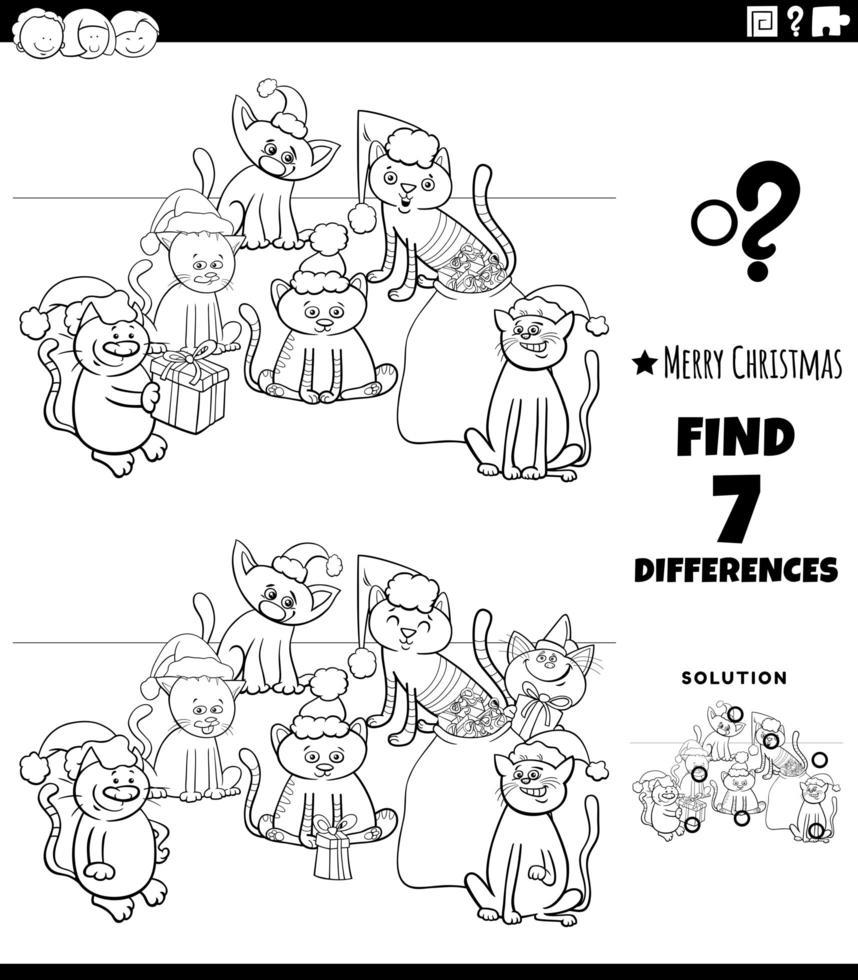 Jeu de différences avec des chatons à Noël vecteur