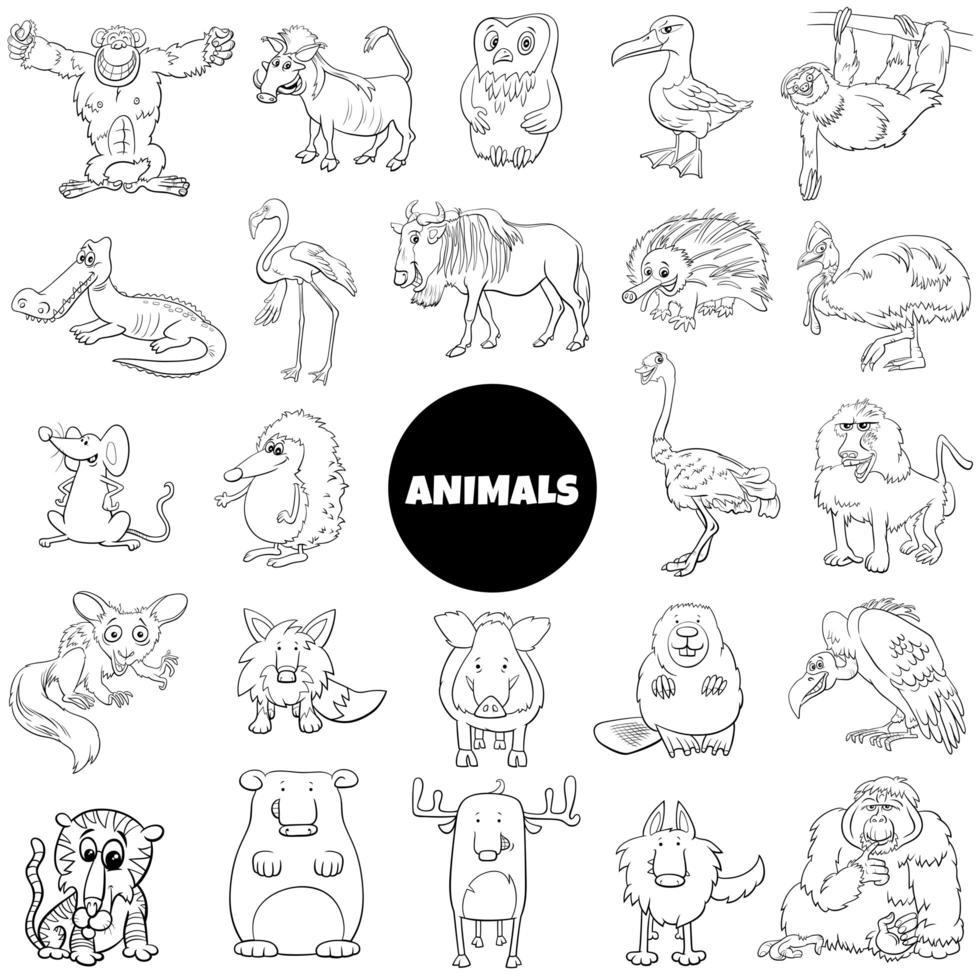 jeu de caractères animaux sauvages de dessin animé noir et blanc vecteur