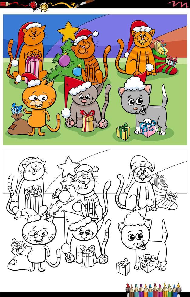 Groupe de chatons sur la page du livre de coloriage de Noël vecteur