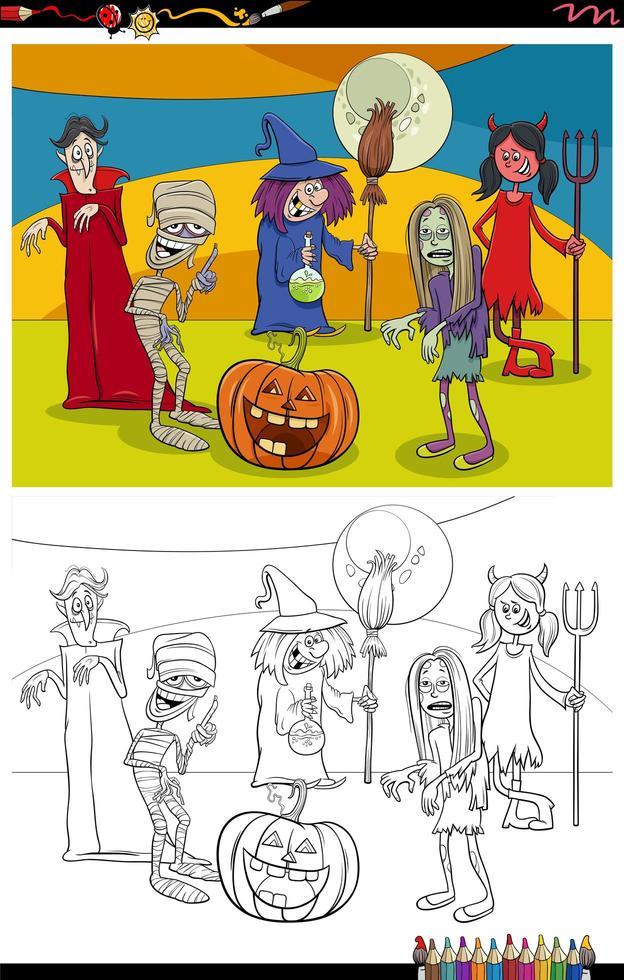 dessin animé, halloween, caractères, groupe, livre coloration, page vecteur