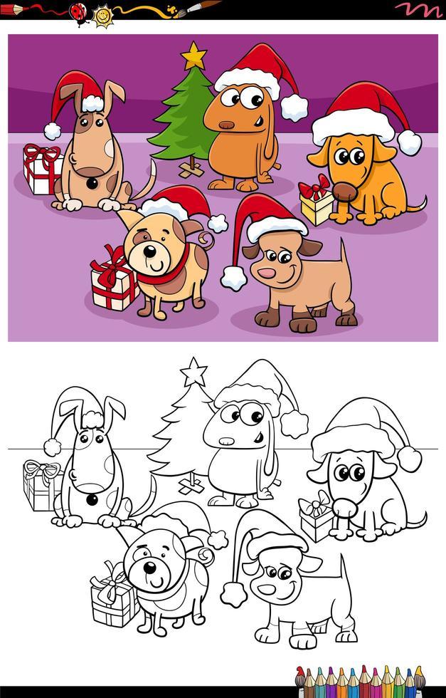 Groupe de chiens sur la page de livre de coloriage de Noël vecteur