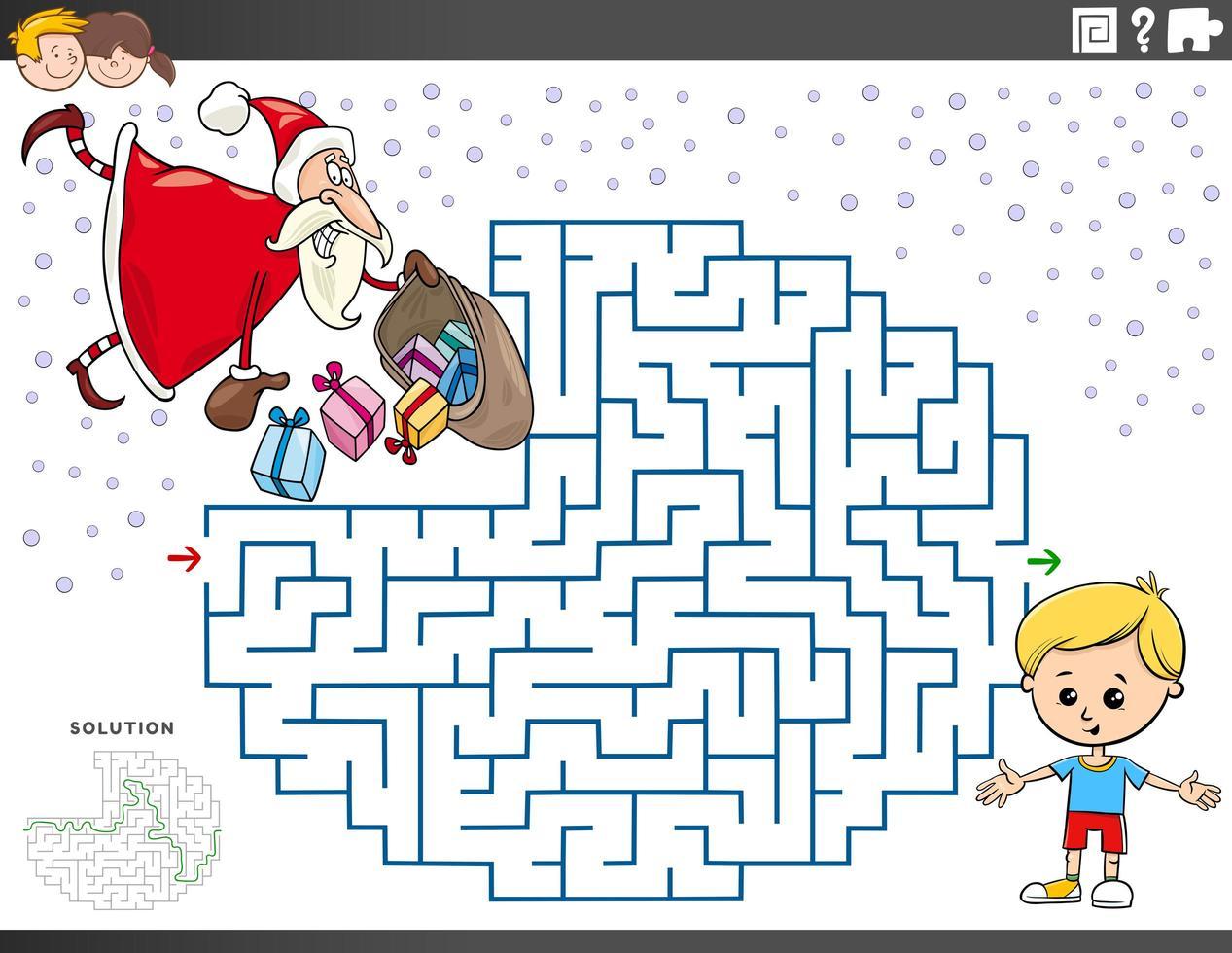 jeu de labyrinthe avec le père noël avec des cadeaux de noël vecteur