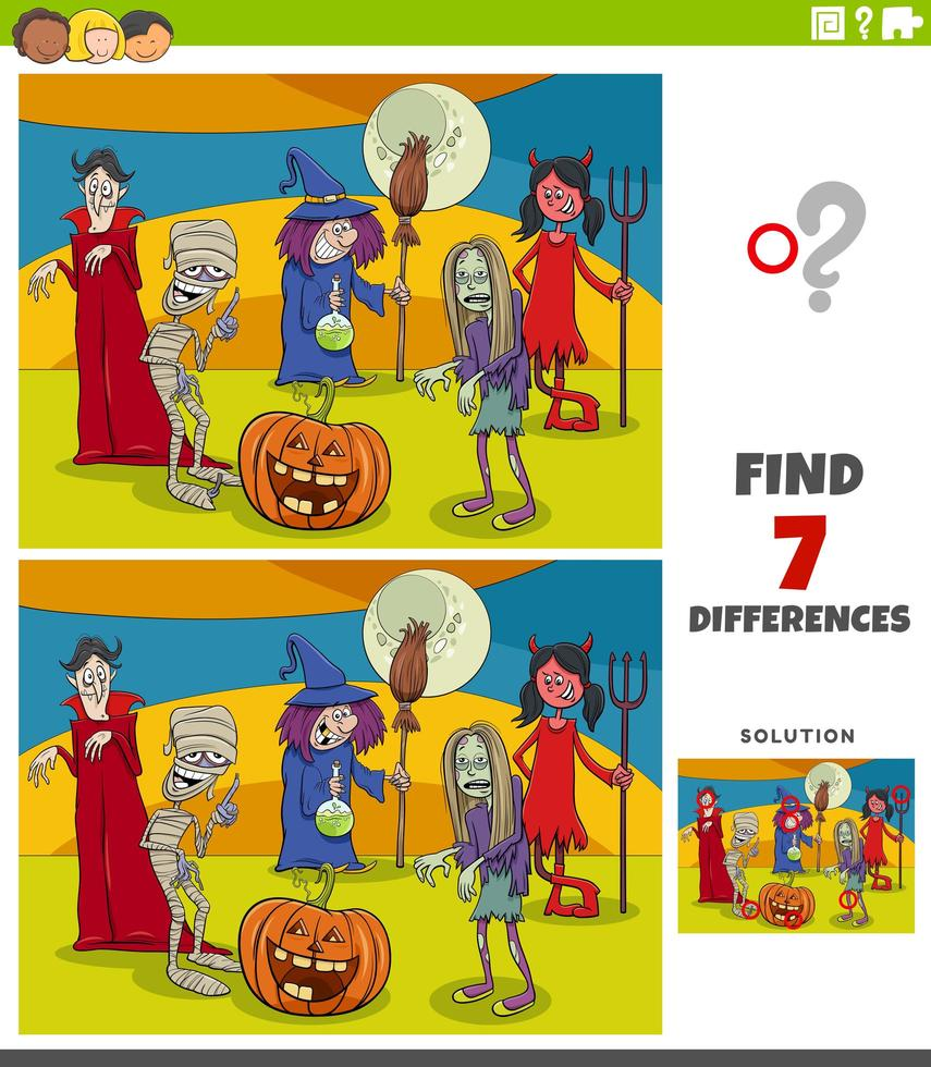 tâche éducative des différences pour les enfants avec des personnages d'halloween vecteur