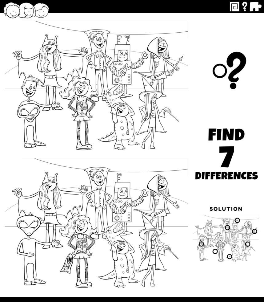 tâche de différences avec la page de livre de coloriage de personnages halloween vecteur