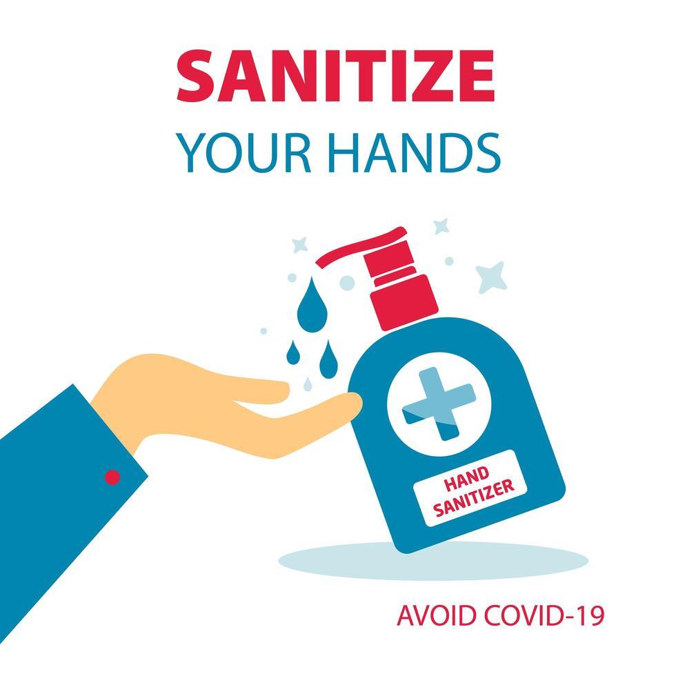 désinfectez vos mains poster vecteur