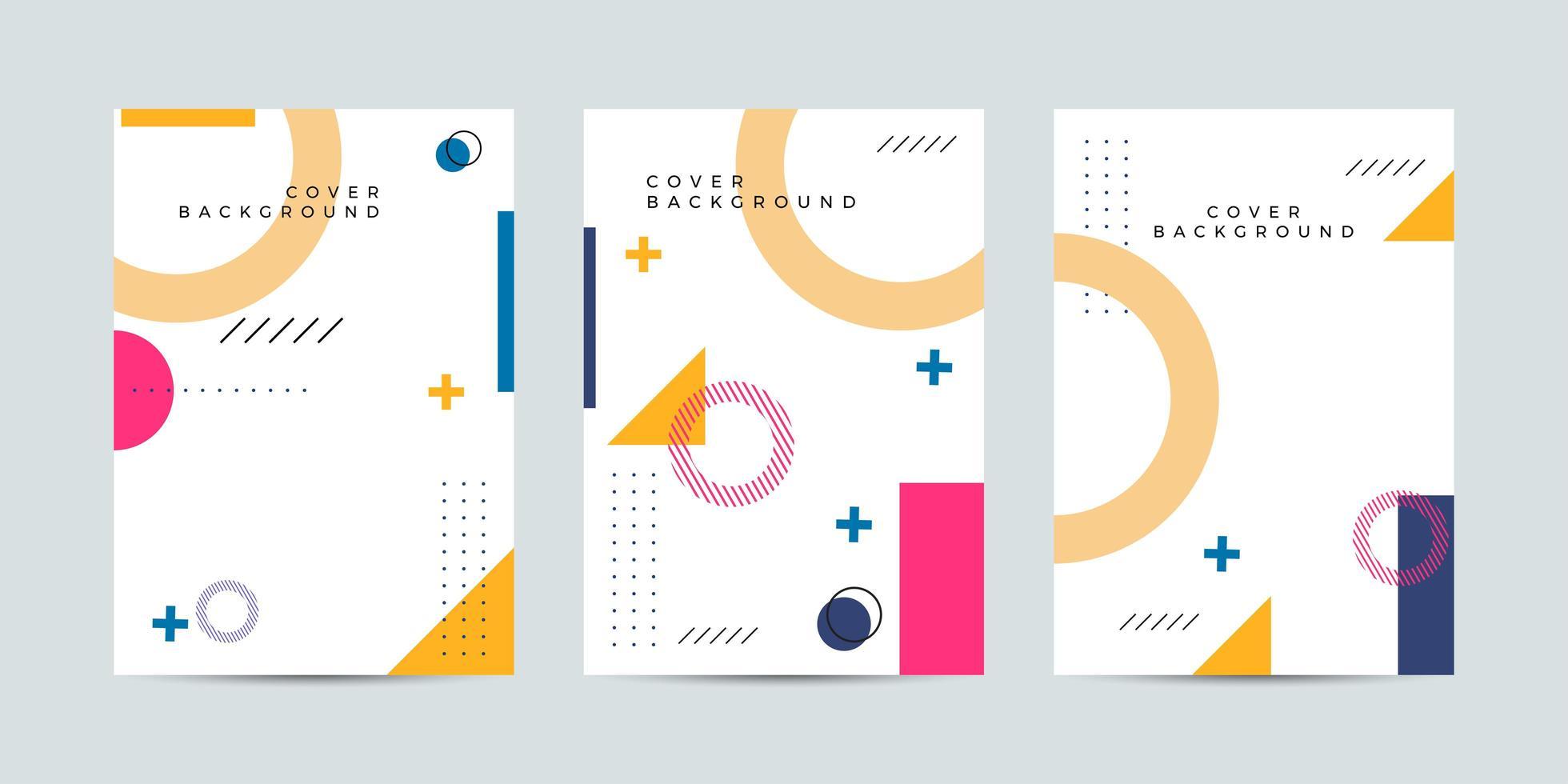 couvertures colorées avec des formes abstraites dans le style de memphis vecteur