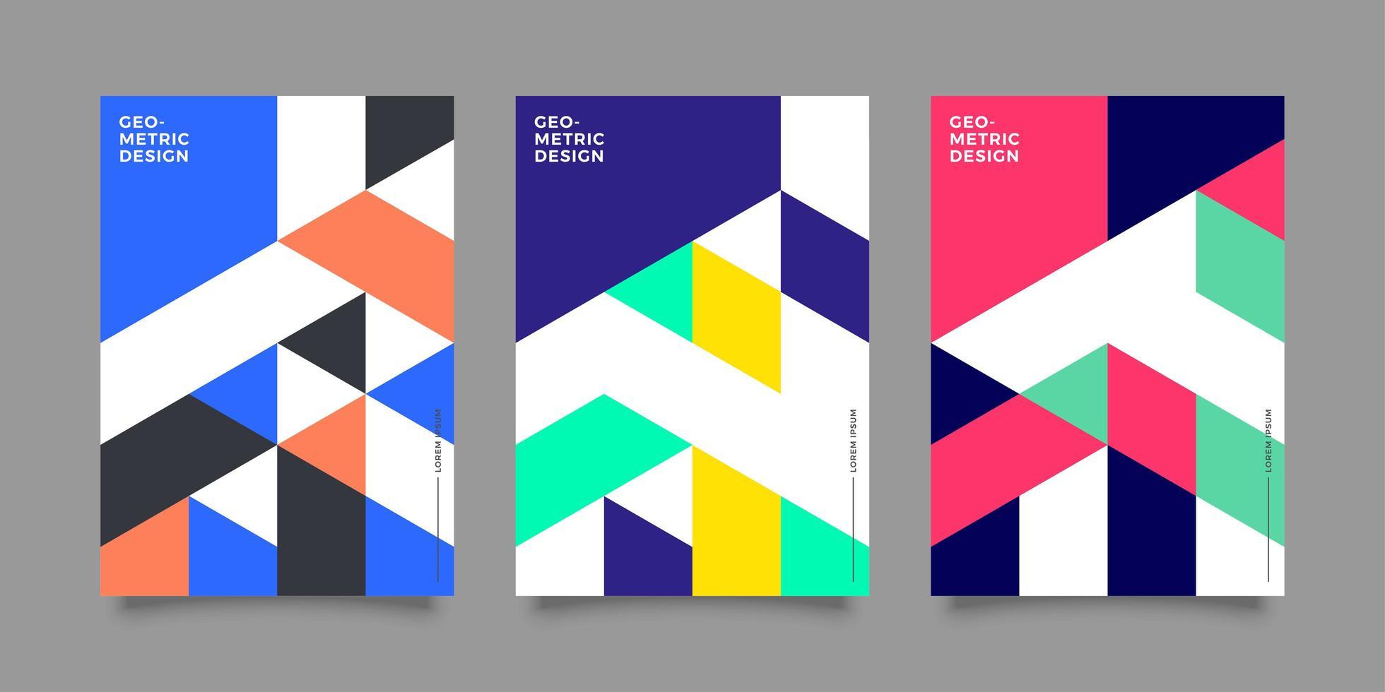 modèles de rapport annuel d'entreprise avec un design géométrique coloré vecteur