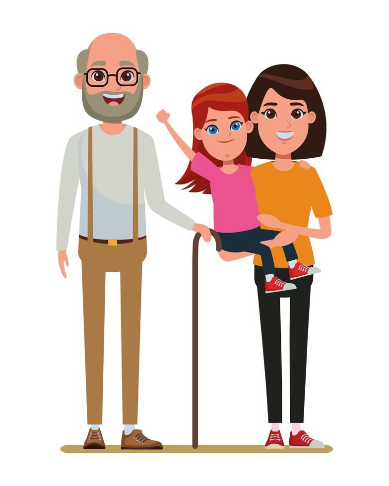 dessin animé portrait de famille vecteur