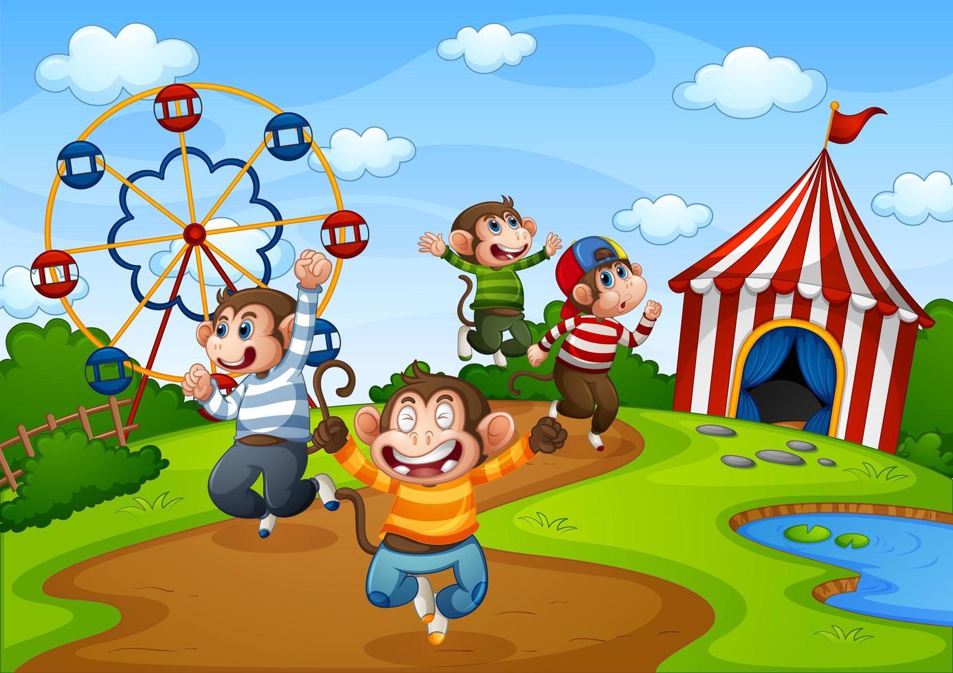 singes sautant dans la scène du parc d & # 39; attractions vecteur