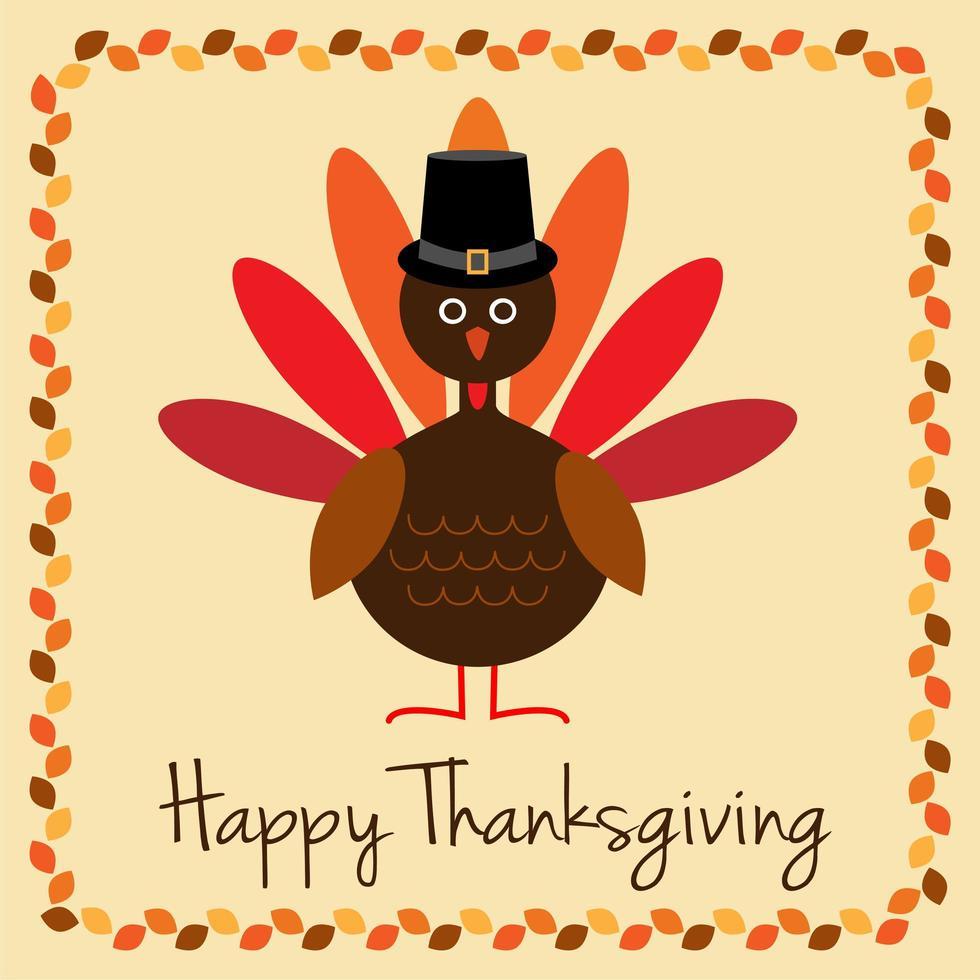 conception de joyeux thanksgiving avec bordure de dinde et de feuilles vecteur