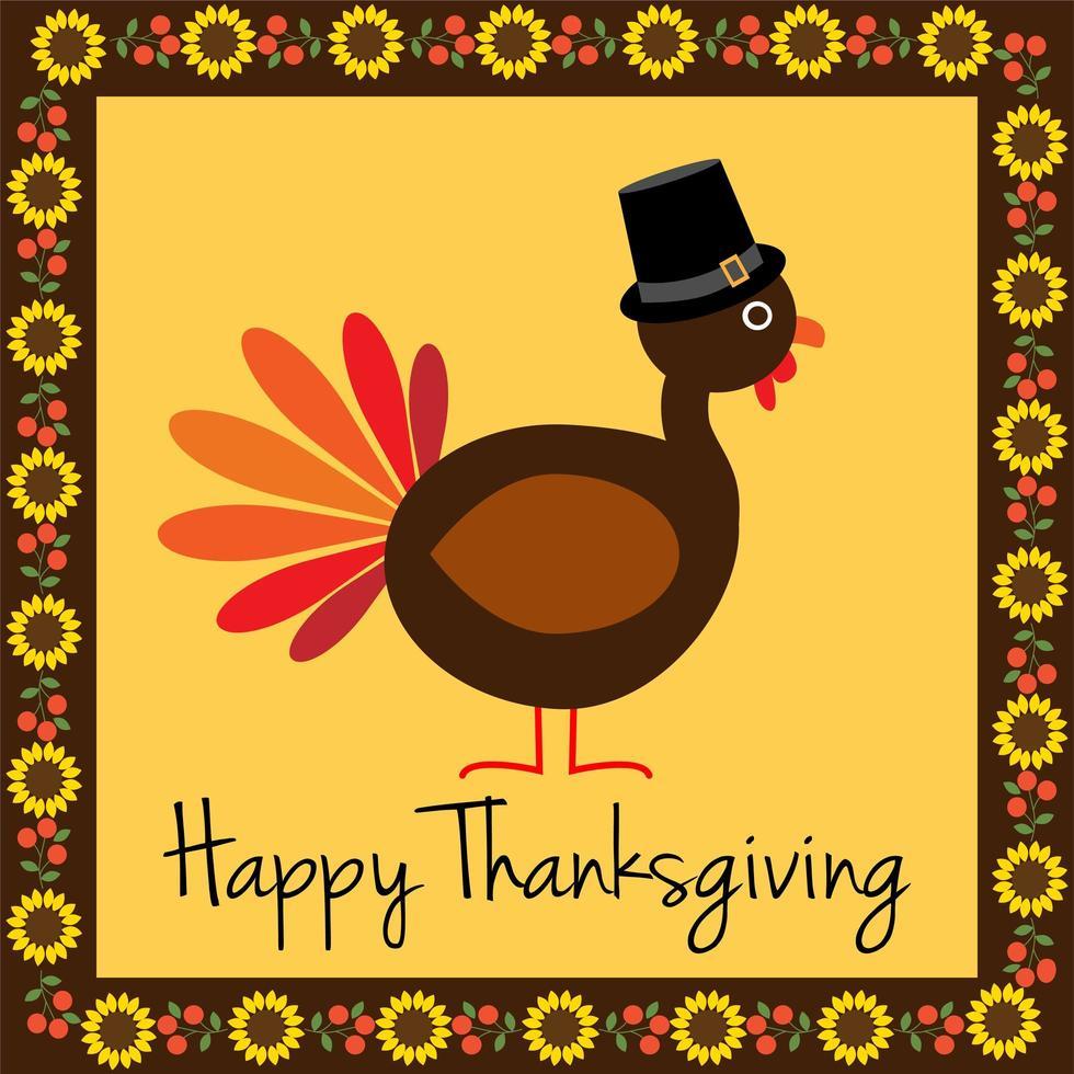 dinde de joyeux thanksgiving avec bordure de tournesol vecteur