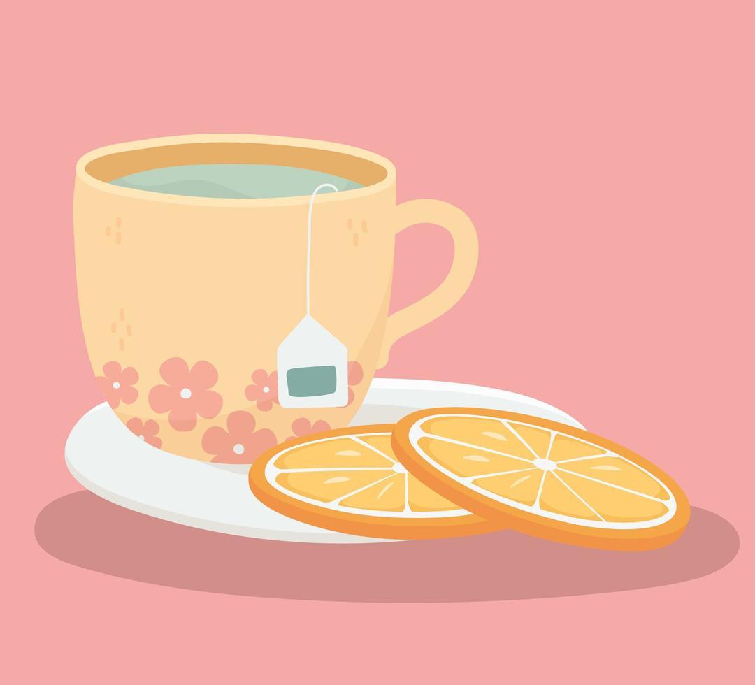 l'heure du thé avec des tranches d'orange vecteur