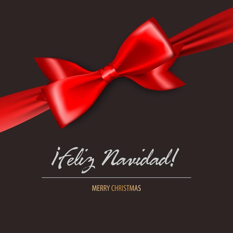 joyeux noël en satin rouge espagnol carte noeud cadeau vecteur