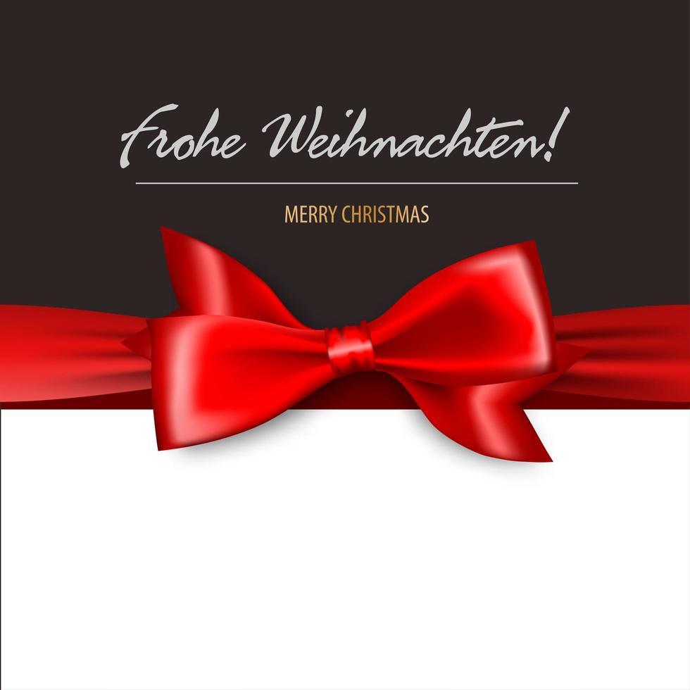 joyeux noël en allemand carte noeud cadeau satin rouge vecteur
