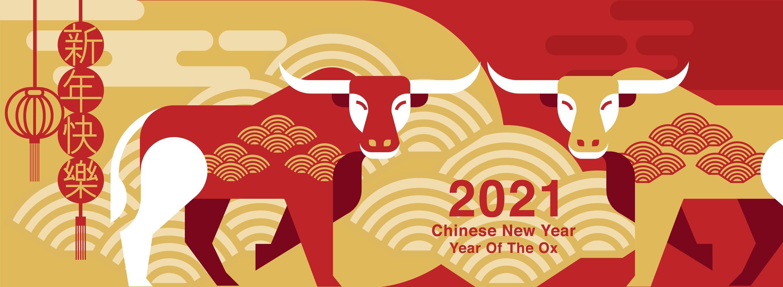 nouvel an chinois 2021 conception de bœuf rouge et or vecteur