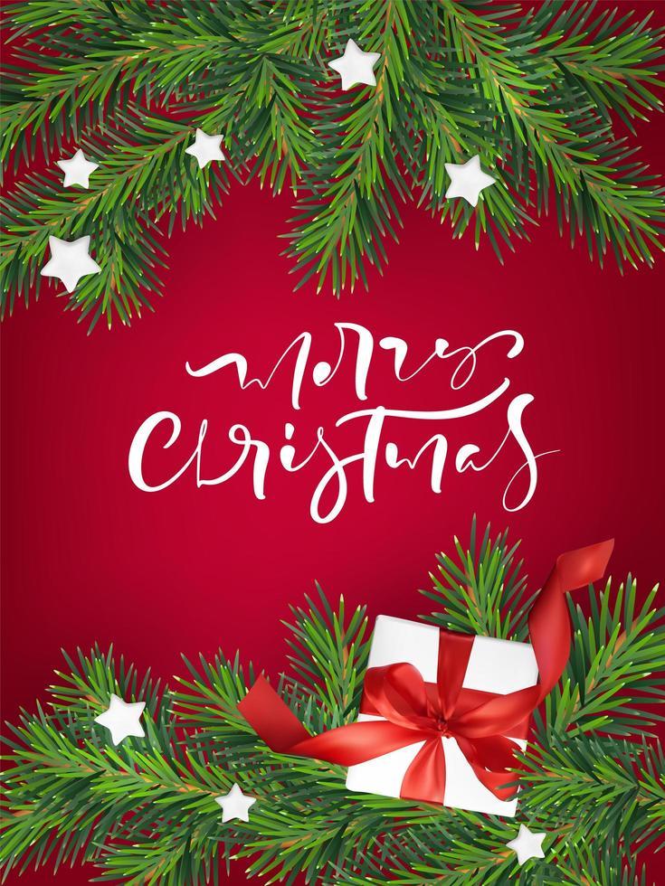 carte de voeux de Noël avec des branches, des cadeaux et des étoiles vecteur