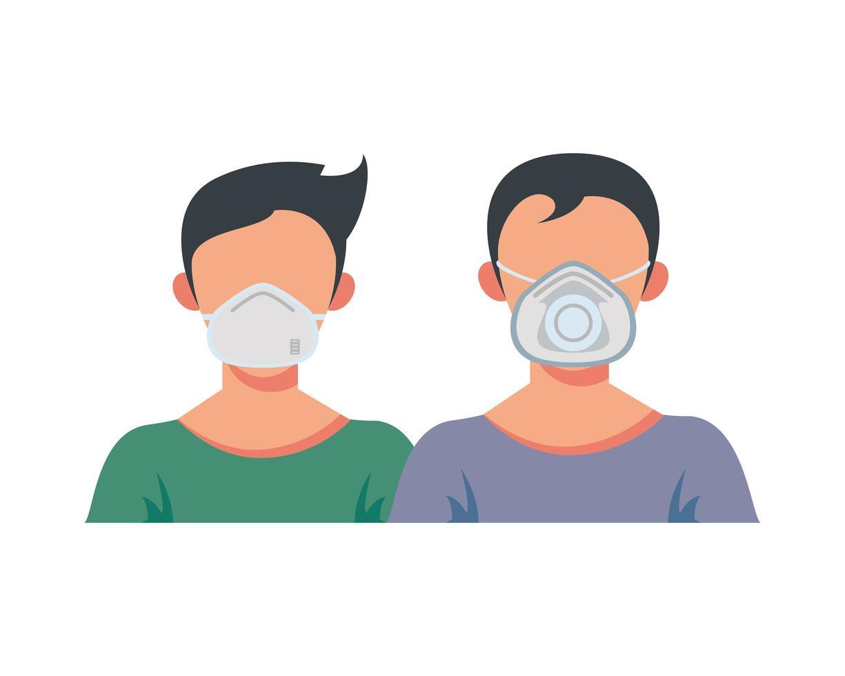 jeunes hommes portant des masques médicaux vecteur