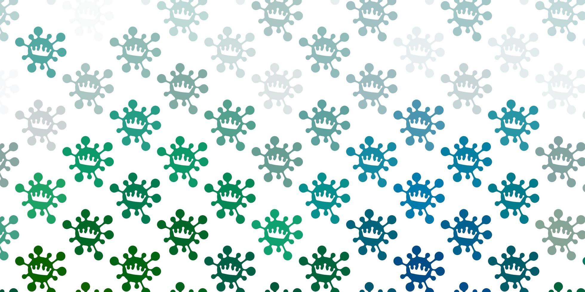 toile de fond vert clair avec des symboles de virus. vecteur