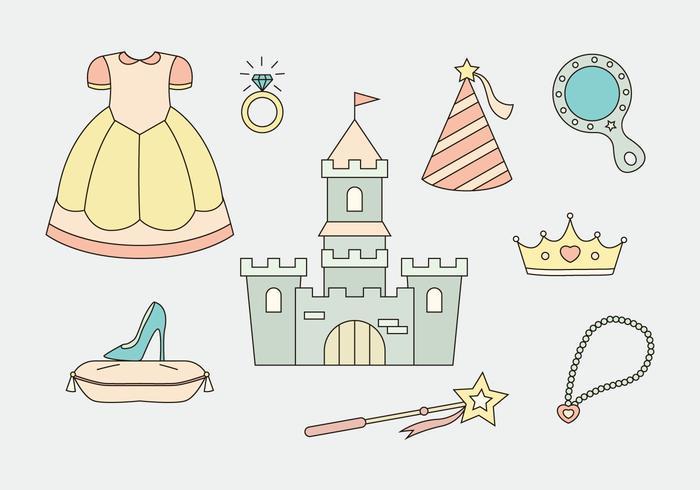 Princesse icônes vectorielles vecteur
