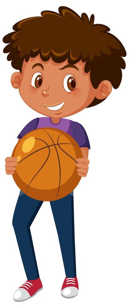 garçon tenant le basket vecteur