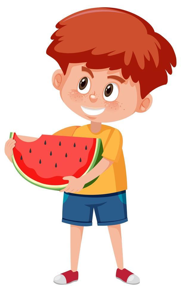 personnage de dessin animé enfants tenant la pastèque vecteur