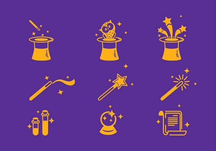 Vecteur de jeu d'icônes de magicien