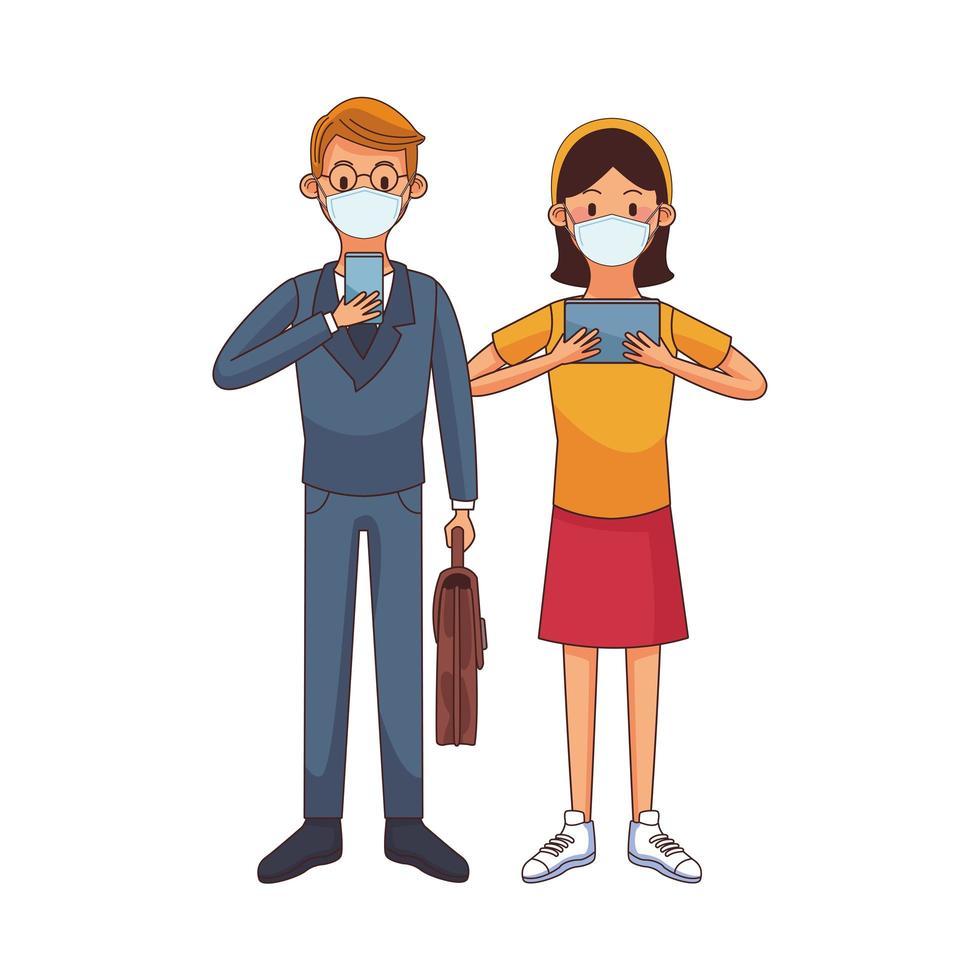 jeune couple portant un masque médical à l'aide de caractères technologiques vecteur