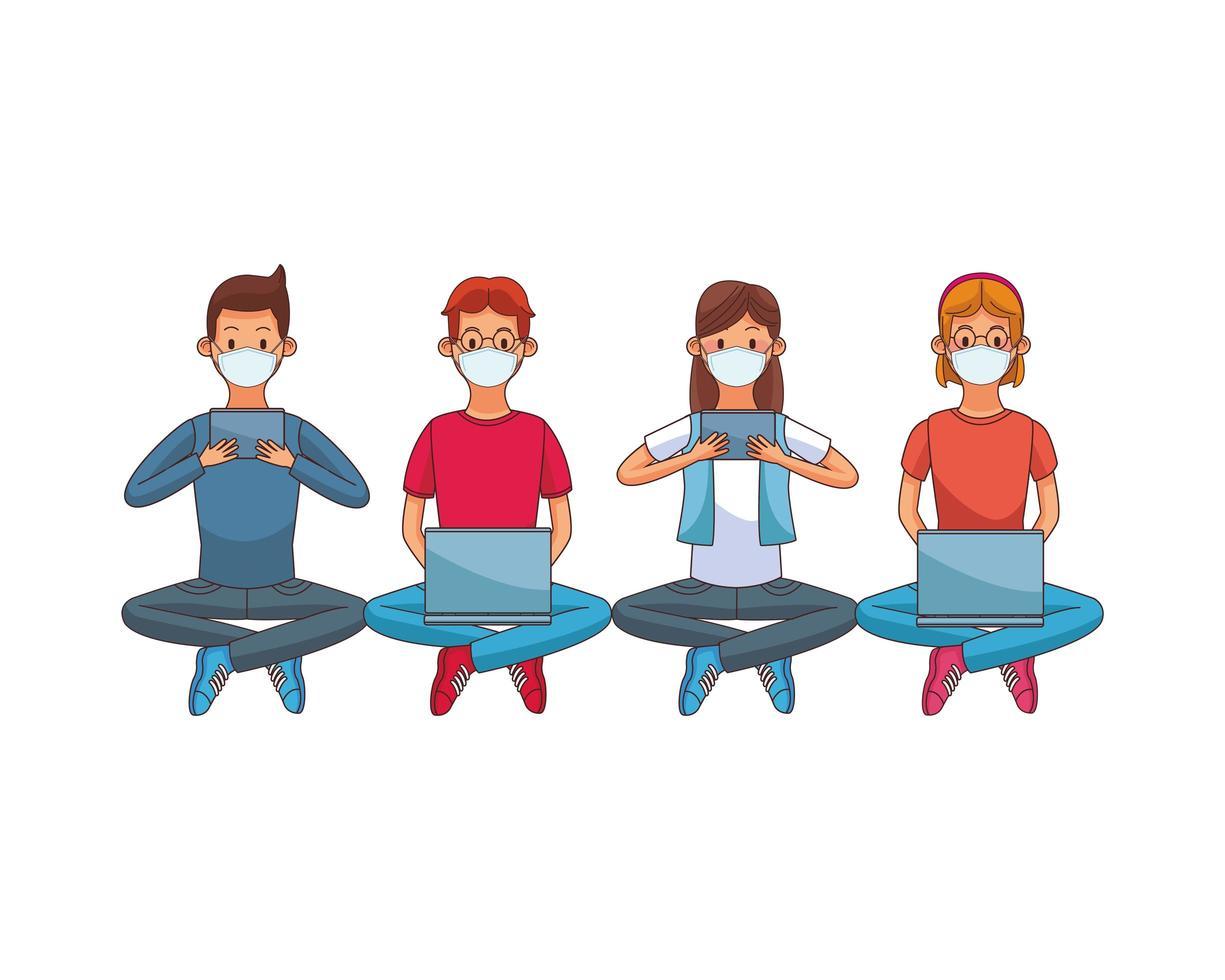 personnes portant des masques médicaux utilisant la technologie assis vecteur