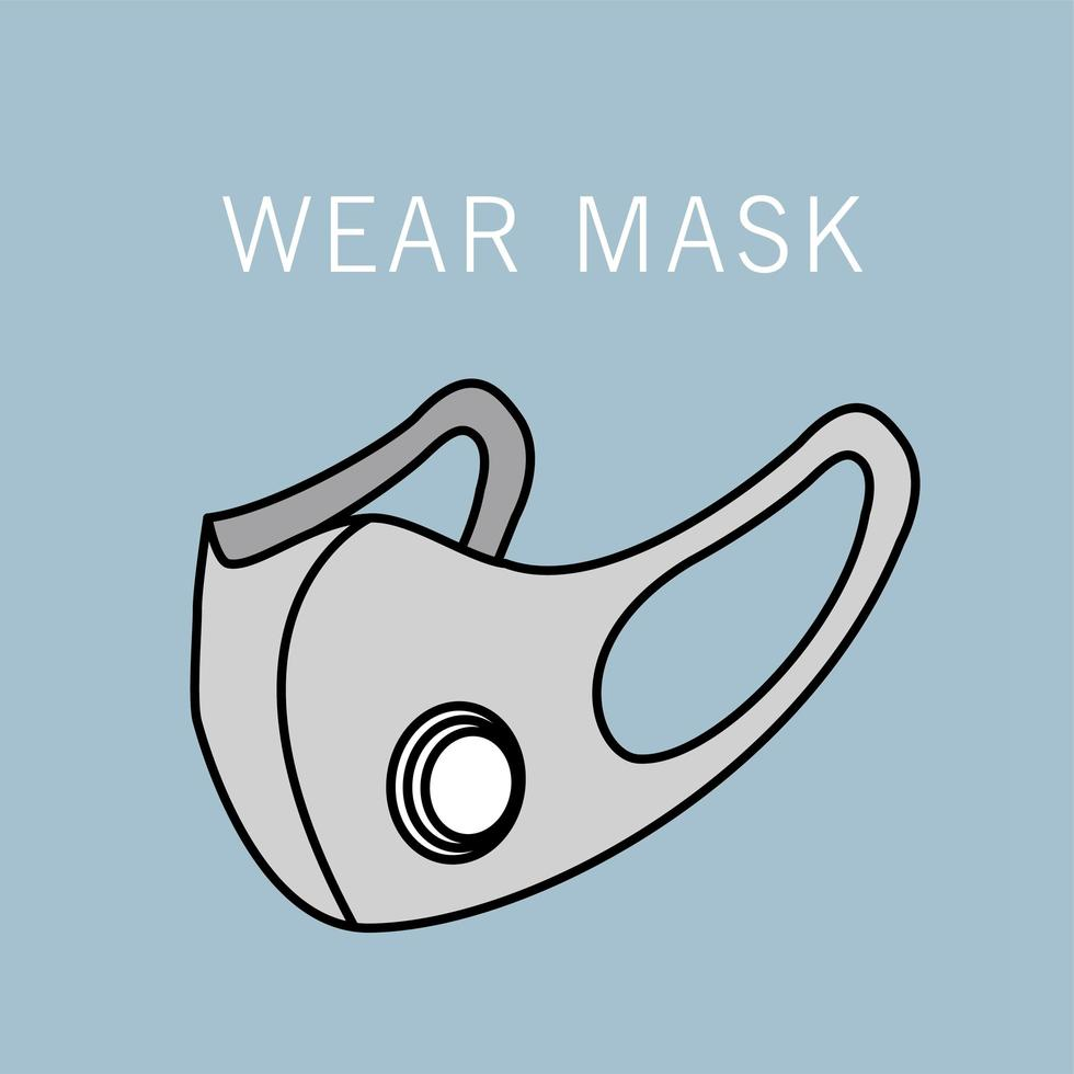 icône d'accessoire de protection de masque médical gris vecteur