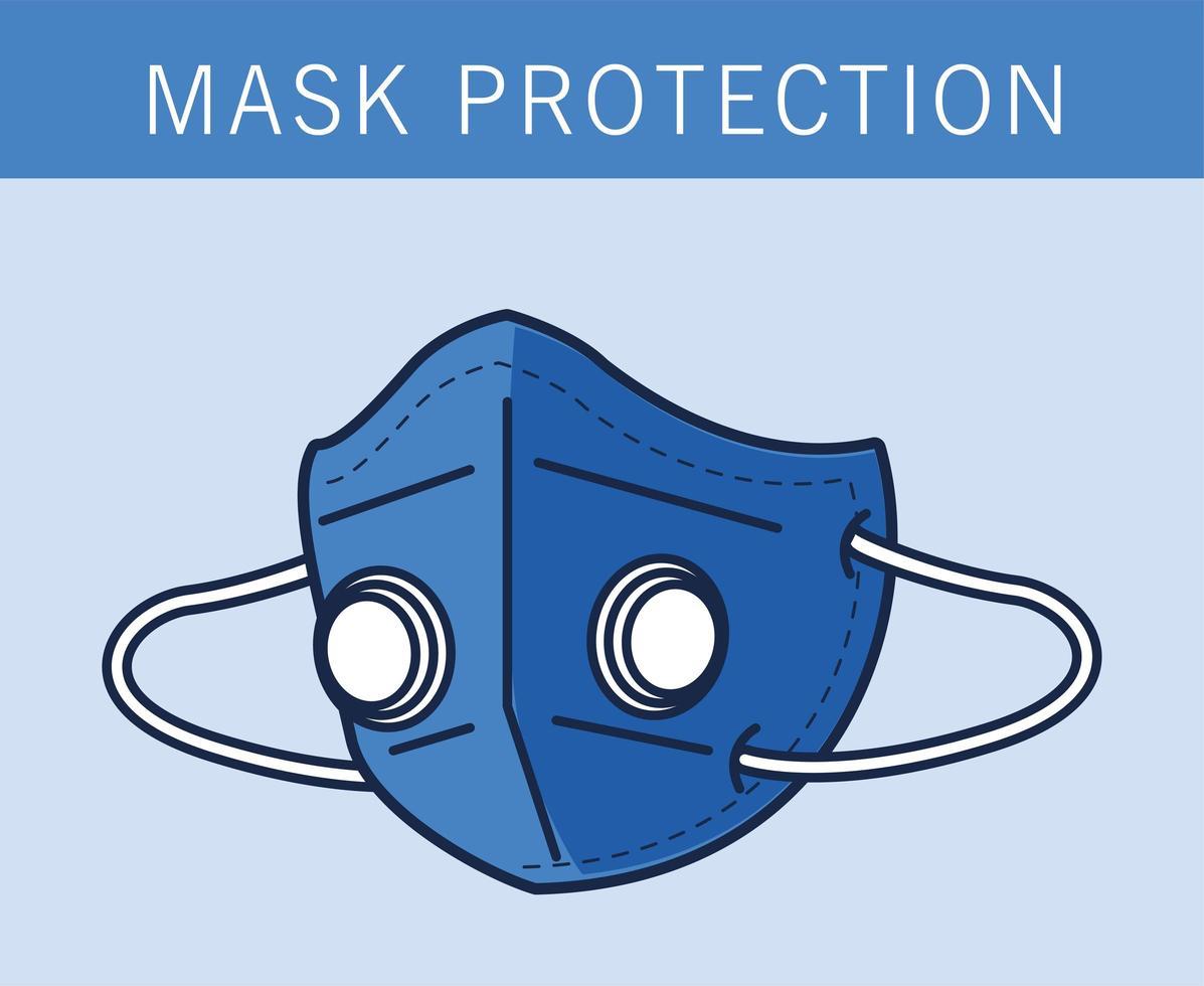 protection de masque médical bleu avec filtre vecteur