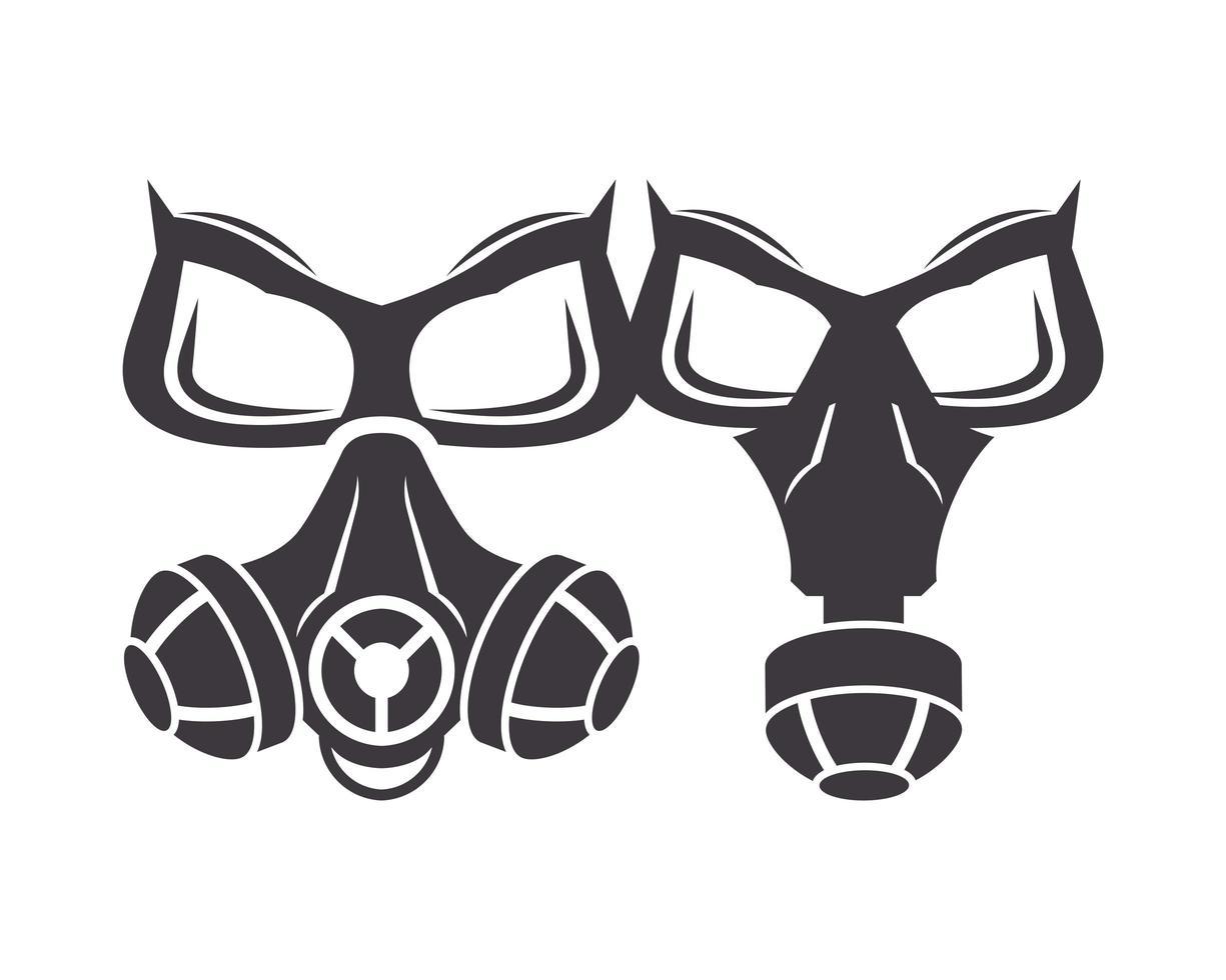 paire d & # 39; icônes de masques à gaz de biosécurité vecteur