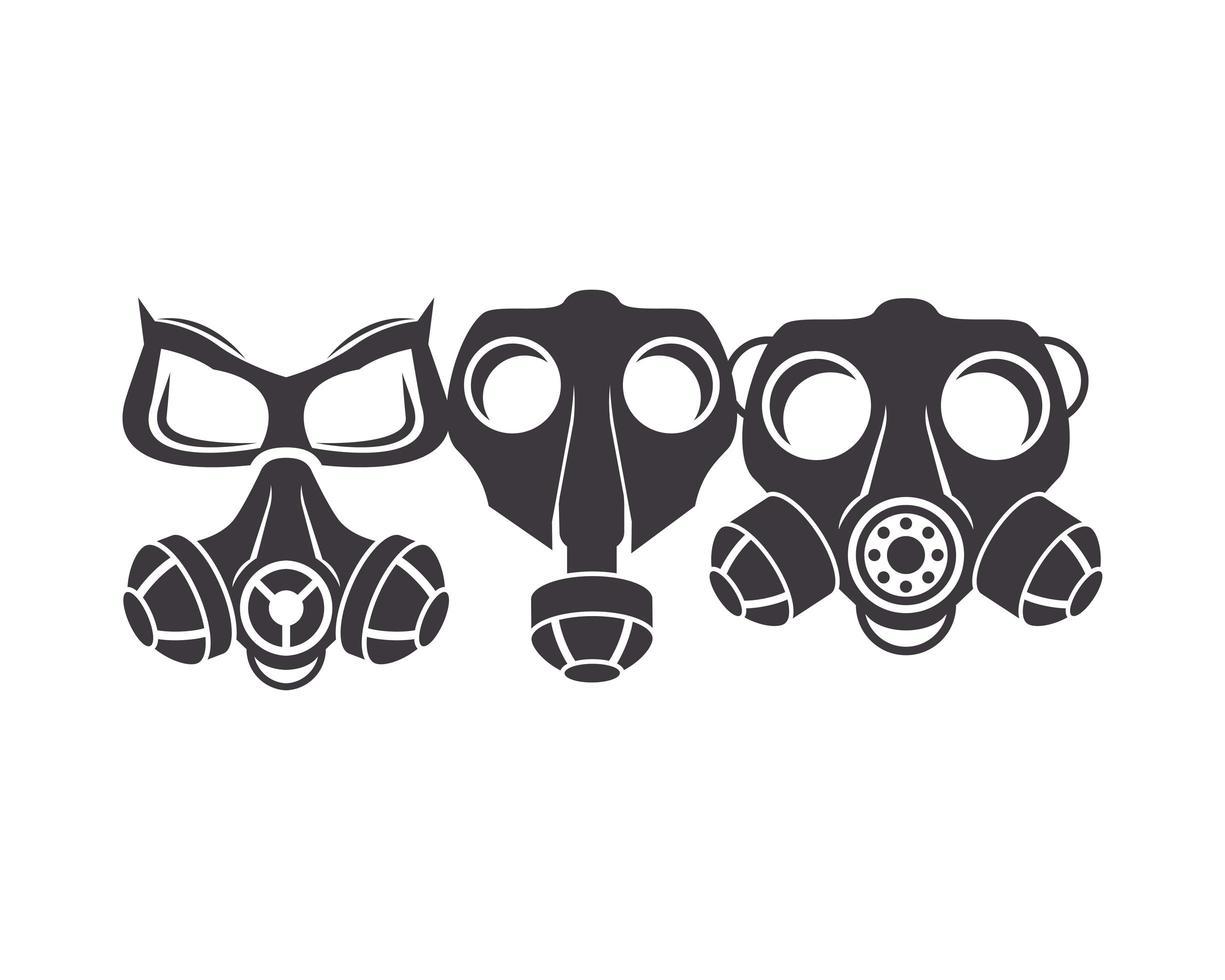 trois icônes de masques à gaz de biosécurité vecteur