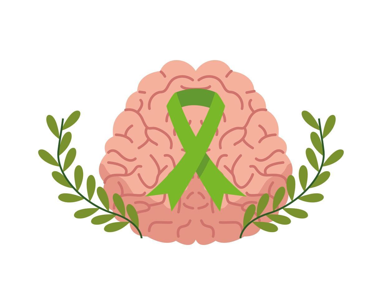 cerveau humain avec ruban de campagne, soins de santé mentale vecteur