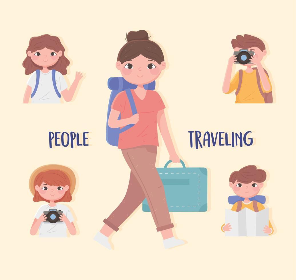 composition de voyage de jeunes vecteur