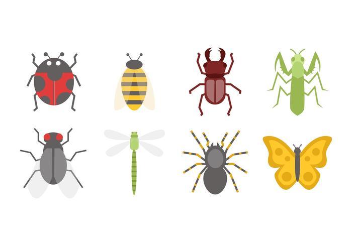 Icônes gratuites à insectes design plat Vecteur