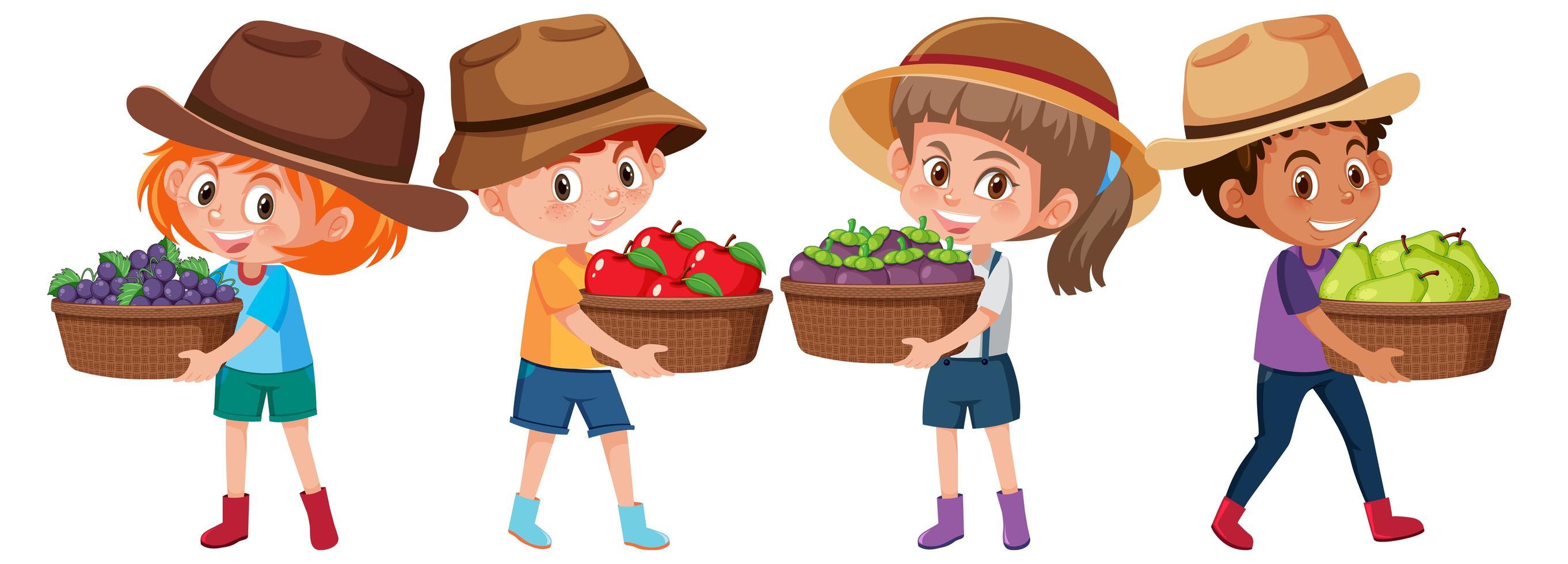 ensemble de différents enfants tenant une corbeille de fruits vecteur