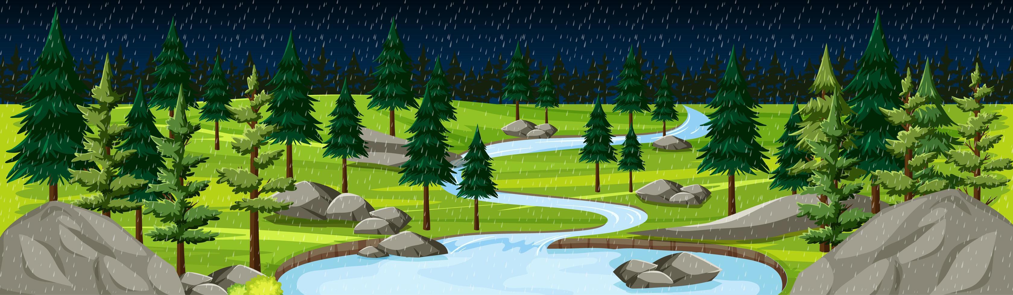 parc naturel avec panorama de paysage fluvial à la scène de nuit vecteur