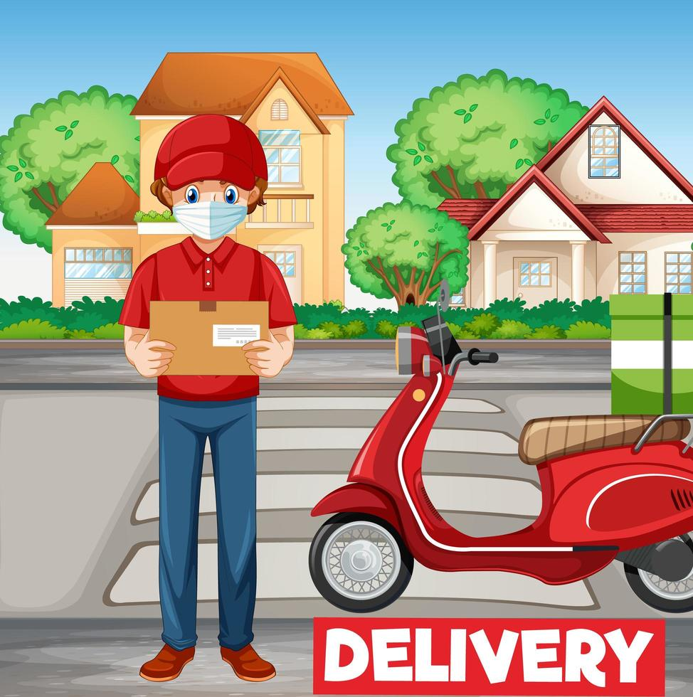 homme de vélo ou courrier avec logo de livraison vecteur
