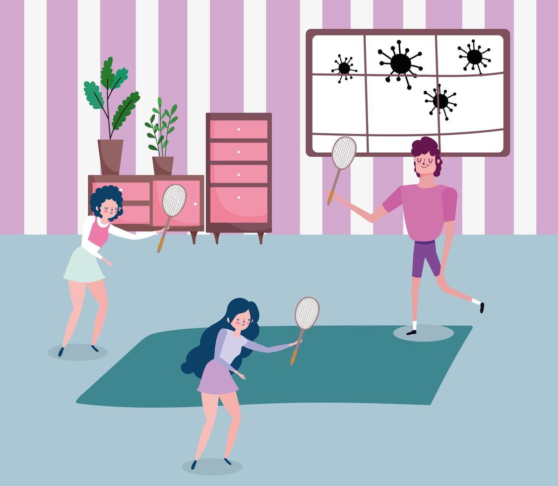 jeunes faisant du sport à la maison vecteur