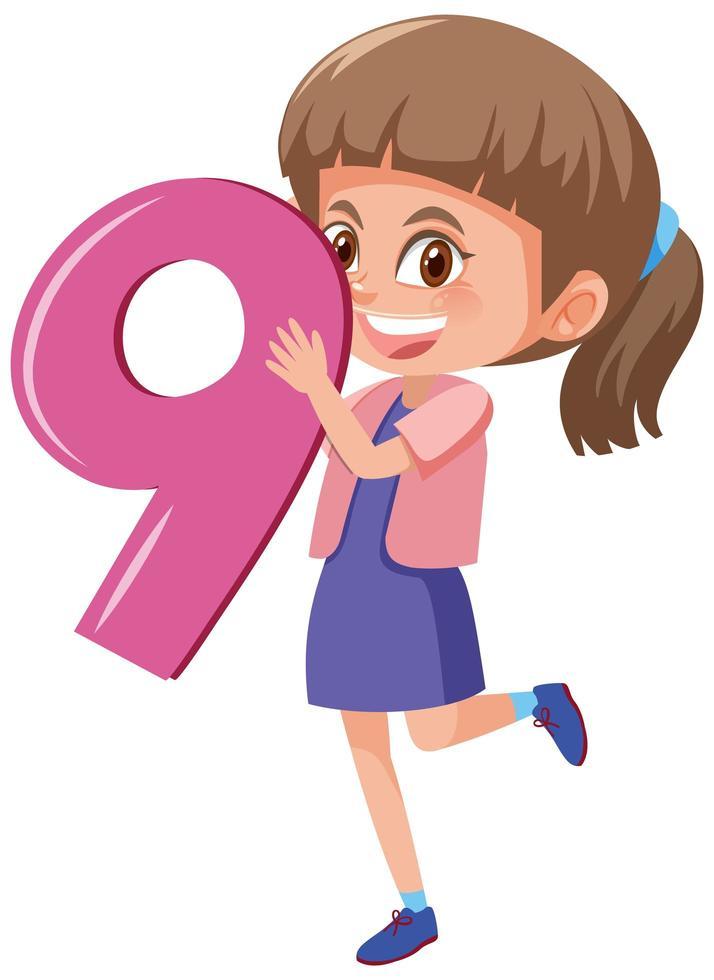 fille tenant le numéro 9 vecteur