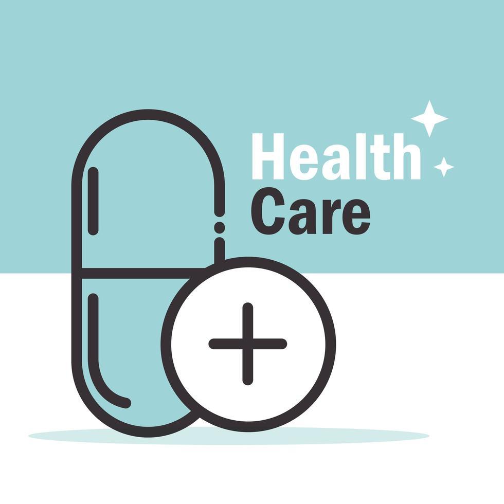 bannière de soins de santé avec pictogramme de médicaments vecteur