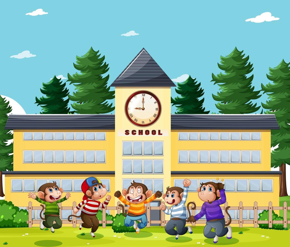 cinq petits singes sautant dans le parc vecteur