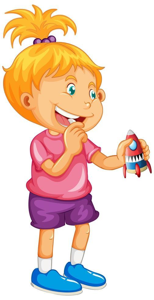 fille tenant jouet fusée vecteur