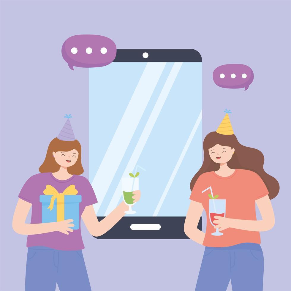 concept de fête en ligne avec des filles faisant la fête vecteur