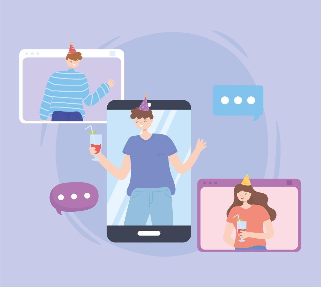 personnes participant à un appel vidéo faisant la fête en ligne vecteur